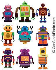 kleur, robot, spotprent, pictogram