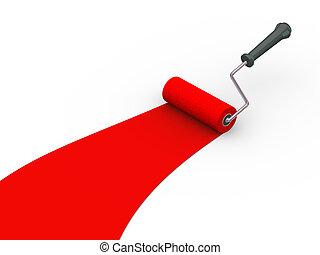 kleur, rol, verfborstel, rood, 3d