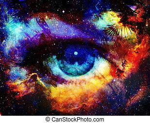 kleur, ruimte, stars., godin, achtergrond, oog