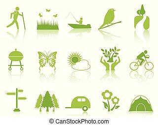 kleur, set, groene, tuin, iconen