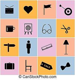 kleur, set, illustratie, pictogram
