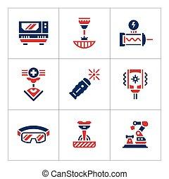 kleur, set, laser, iconen