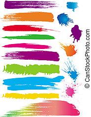 kleur, set, lijn, borstels
