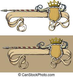 kleur, spandoek, kroon, speer