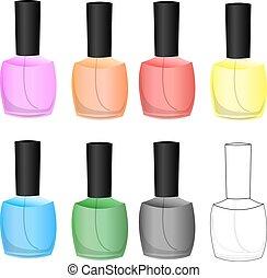 kleur, spijker, set, polish., vector