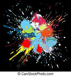 kleur, splashes., helling, achtergrond, vector, verf