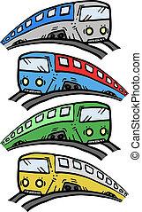 kleur, spotprent, trein