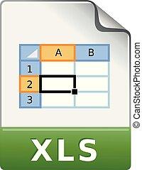 kleur, -, spreadsheet, bestand, pictogram