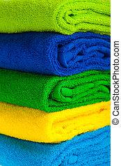 kleur, stapel, gecombineerd, handdoeken, terry