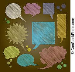 kleur, tekst, -, illustratie, donkere achtergrond, bellen