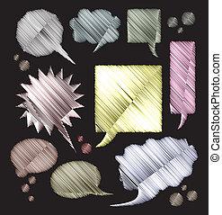 kleur, tekst, -, illustratie, zwarte achtergrond, bellen