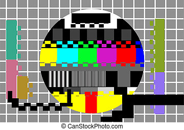 kleur, test, televisie, model