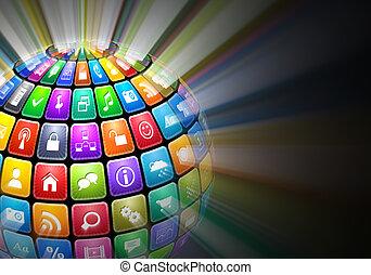 kleur, toepassing, gloeiend, bol, iconen