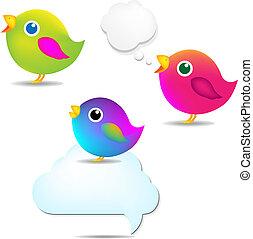 kleur, toespraak, set, bel, vogels