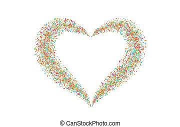 kleur, trouwfeest, liefde, vrijstaand, versiering, card., illustratie, hart, vector, valentines, groet, valentijn, achtergrond., dag, romantische, confetti, frame., witte , herfst, confetti, vakantie, heart-shape., design., grens