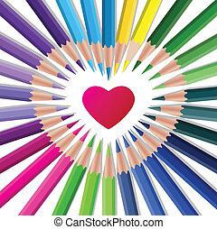 kleur, vector, crayons, met, rood hart