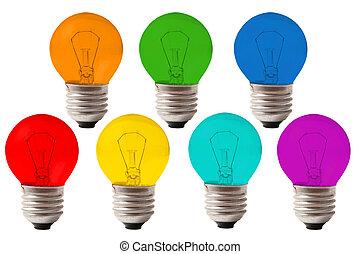 kleur, velen, collage, lampen, regenboog