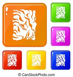 kleur, verfrommeld papier, set, iconen