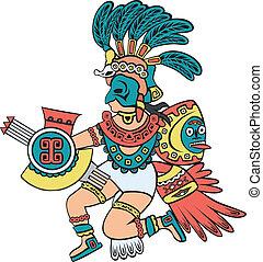 kleur, versie, aztec, god