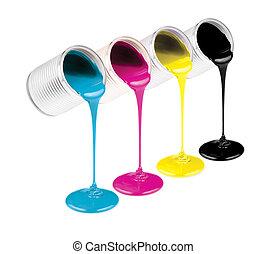 kleur, verven, vrijstaand, cmyk, blikjes, inkt, witte