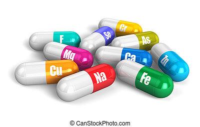 kleur, vitamine pillen
