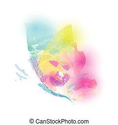 kleur, vlinder, vrijstaand, watercolor, mooi, witte