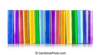 kleur, vrijstaand, boekjes , achtergrond, witte , stapel