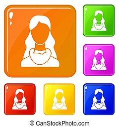 kleur, vrouw, set, iconen