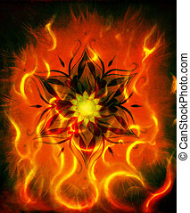 kleur, vuur, oosters, mandala, abstract, flame., achtergrond, decoratief