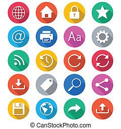 kleur, web, plat, iconen