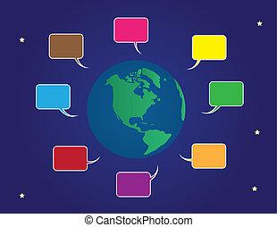 kleur, wereld, bellen, toespraak