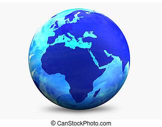 kleur, wereldbol, blauwgroen