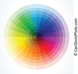 kleur, wheels., vector, illustratie