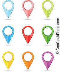kleur, wijzers, set, ronde