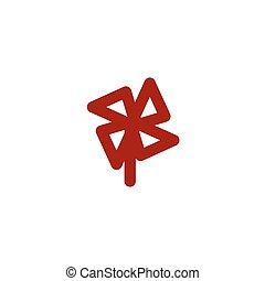 kleur, windmolen, lijn, pictogram