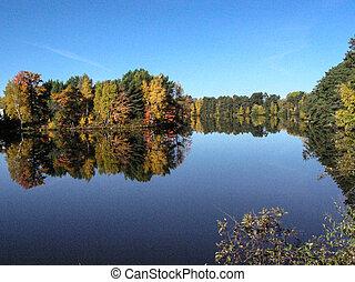 kleur, wisconsin, weerspiegelingen, herfst
