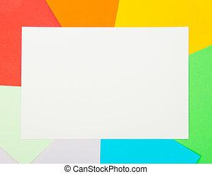 kleur, witte , de kaart van het document, bladen