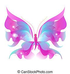 kleur, witte , vlinder