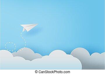 kleur, zakelijk, vliegtuigen, hemel, achtergrond, kunst, bewindvoering, vector, ambacht, papier, ontwerp, knippen, succes, 3d, idee, blauwe , pastel, illustratie, creatief, wolken, vliegen, concept, witte