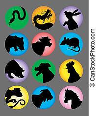 kleur, zodiac, vector, chinees