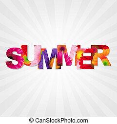 kleur, zomer, spandoek, gerbers