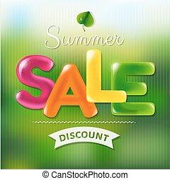 kleur, zomer, verkoopaffiche, tekst