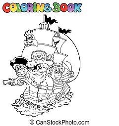 kleuren, 2, boek, piraten