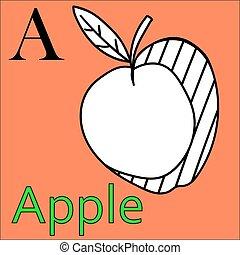kleuren, alphabet., appel, a., vector, brief, boek