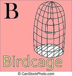 kleuren, alphabet., birdcage, vector, letter., b, boek