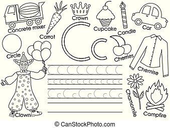 kleuren, alphabet., c., afbeeldingen, praktijk, book., schrijvende , vector, kaart, brief, engelse , children., preschool, illustration.