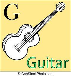 kleuren, alphabet., g, gitaar, vector, letter., boek