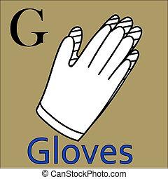 kleuren, alphabet., g, vector, handschoenen, letter., boek
