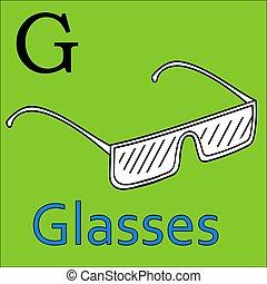 kleuren, alphabet., g, vector, letter., boek, bril