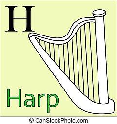 kleuren, alphabet., h, vector, letter., boek, harp